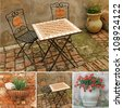 collage with images of italian terrace, Tuscany, Europe - stock photo