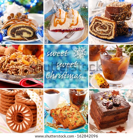 collage with many photos of sweet cakes and desserts for christmas - stock photo