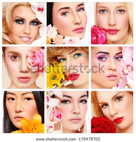 Collage with nine portraits of beautiful healthy happy women with flowers. Beauty, make-up, organic cosmetics.  - stock photo