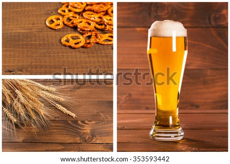 Collage with Oktoberfest Beer Mug and traditional German pretzels with wheat, cones hops on the wood  table - stock photo