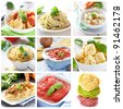 collage with pasta and sauces - stock photo