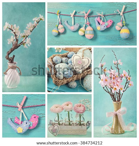 Collage with pastel blue and pink colored easter decoration - stock photo