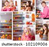 collage with people at the refrigerator - stock photo
