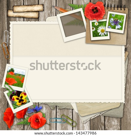 collage  with photo frame, flower, old paper on wood background - stock photo