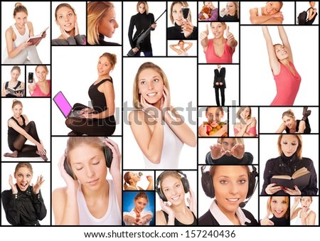Collage with photos of beautiful young woman in different situations, isolated on white background. - stock photo