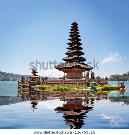 Collage with reflection of Pura Ulun Danu Bratan, Bali, Indonesia - stock photo