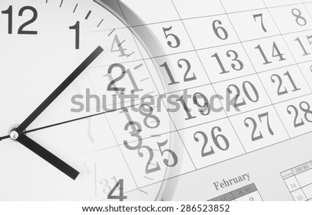 Collage with round clock and calendar pages, time concept - stock photo