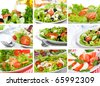 collage with salad - stock photo