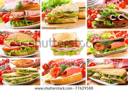 collage with sandwiches - stock photo