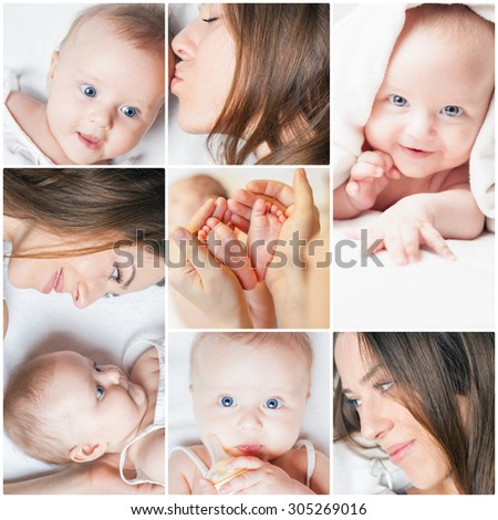 Collage with several photos of mother and baby, there is concept or idea of love, family and happiness at the home, like mother caring for newborn - stock photo