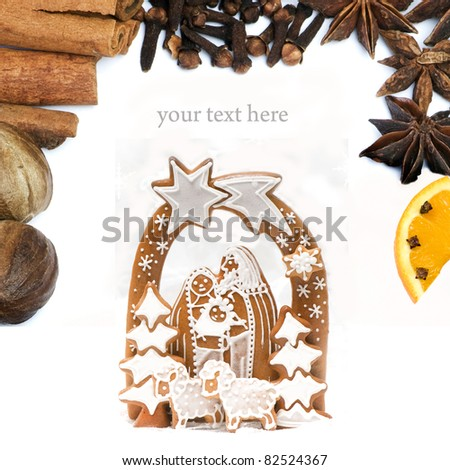 Collage with spices and gingerbread Christmas crib on white background - stock photo