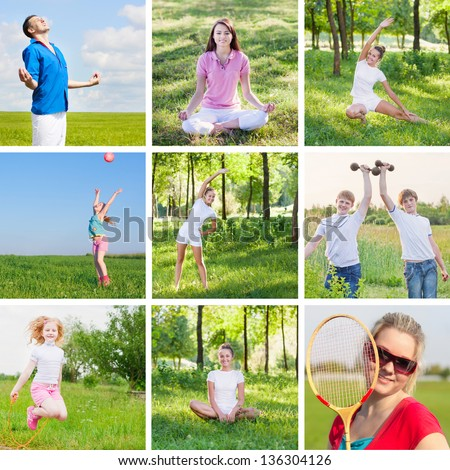 Collage with sport theme - stock photo