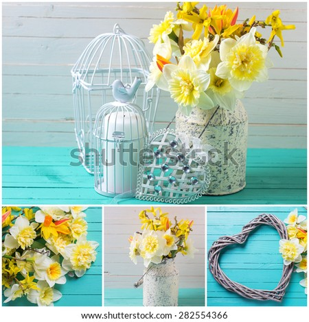 Collage with  spring yellow daffodils flowers, decorative bird cage and heart on turquoise  painted wooden planks against white wall. Selective focus.  - stock photo