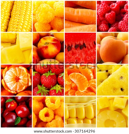 Collage with tasty fruits and vegetables