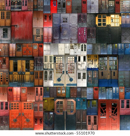 Collage with the doors from Turku. Finland - stock photo