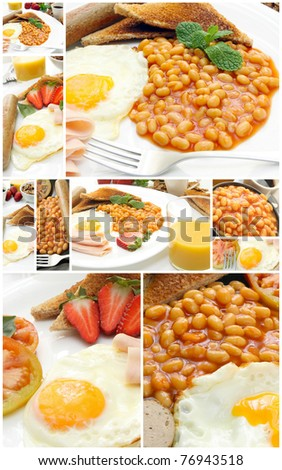 collage with traditional english breakfast on plate - stock photo