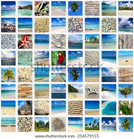 Collage Tropical Travel Images Frames Stock Photo (Safe to Use ...
