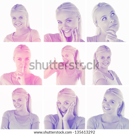 Collage with various pictures of blonde woman on white background with a pink and purple tint - stock photo