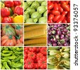 collage with whole different vegetables on farmer market, Italy - stock photo