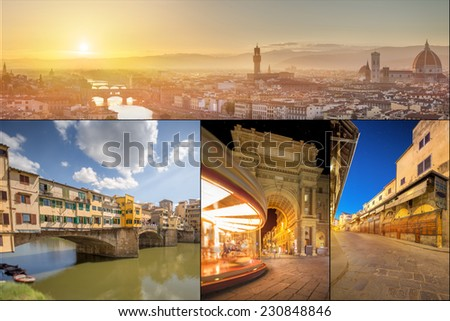 collage with wonderful images of Florence, Italy - stock photo