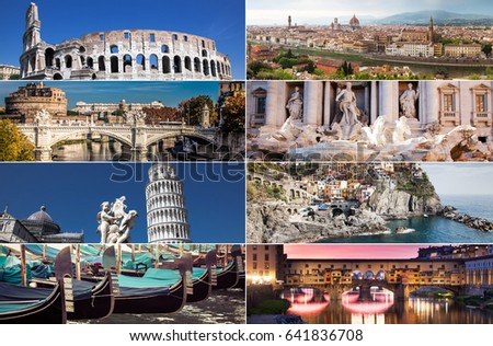 Collage With World Famous Attractions Of Italy Europe