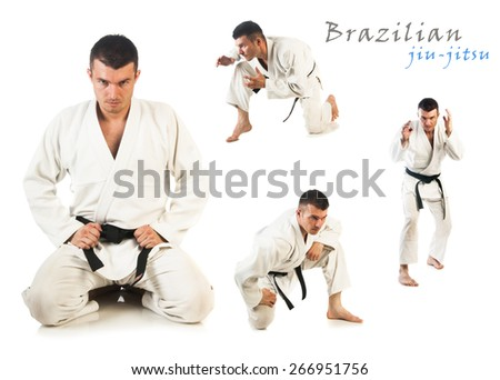 Collage with young man practicing Brazilian jiu-jitsu (BJJ) isolated on white background - stock photo