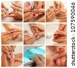 Collage Womans hand with French manicure. Hands care collage. Manicure concept. - stock photo