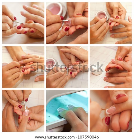 Collage Womans hand with French manicure. Hands care collage. Manicure concept.