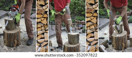 collage - woodworking man with a splitting wedge and a chain saw, preparing firewood - stock photo