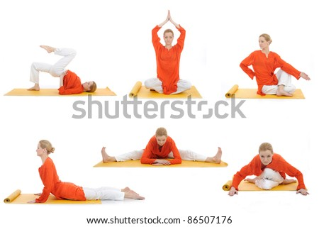 collage yoga photos. young woman doing yoga exercises - stock photo