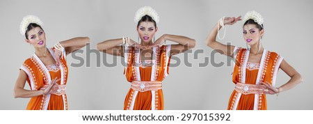 Collage, young traditional Asian Indian women in indian sari, isolated on gray background - stock photo