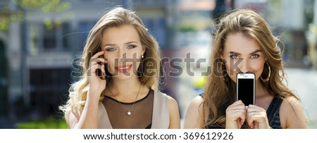 Collage, Young women covers her face screen smart phone on a background of the city - stock photo