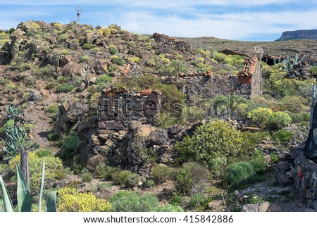 Collapsed stone shed in the hamlet Gerian on La Gomera, The small village is located on top of the Barranco de Argaga on the canary archipelago, The trail is heavy to hike, with the steep slopes