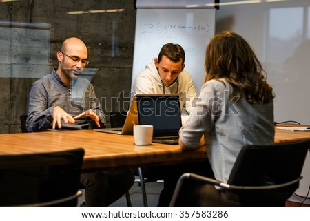 Colleagues Discussing business - stock photo