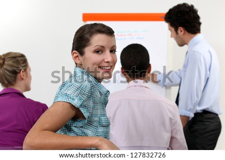 Colleagues having a meeting - stock photo