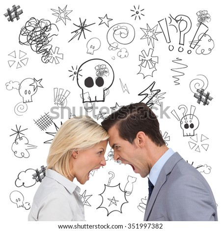 Colleagues quarreling head against head against swearing doodles - stock photo