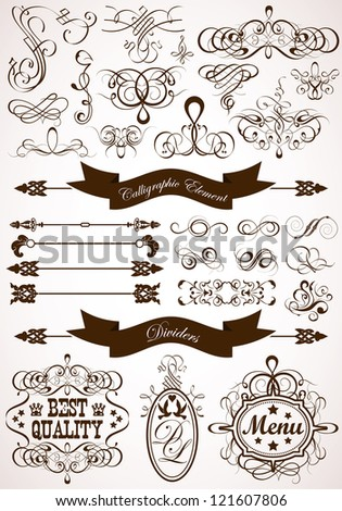Collect Calligraphic and Floral Design Element, Vintage Dividers and Frames, illustration - stock photo