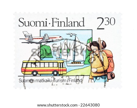 Collectible old stamp from Finland. Stamp with tourism theme.