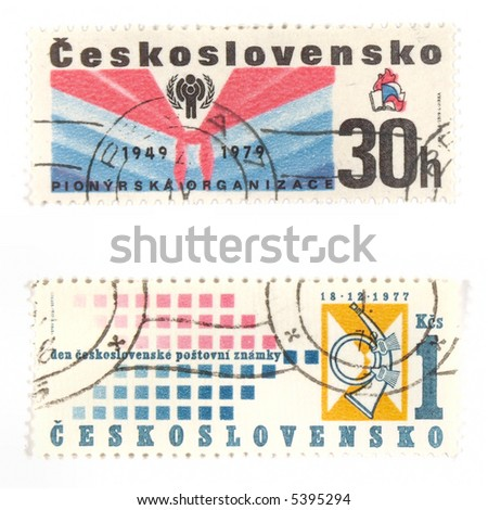 Collectible stamps from Czechoslovakia. Set with socialistic Youth Organization and Czechoslovakian Day of Postage Stamp.
