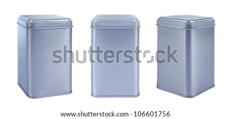 Collection aluminum Box top isolated against a white background - stock photo