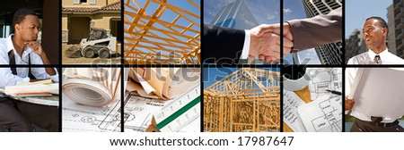 Collection and collage of in progress construction scenes - stock photo