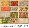 collection assorted of lentils, beans, peas, grain ,groats, soybeans, legumes in wooden box , close up macro top view  backdrop - stock photo