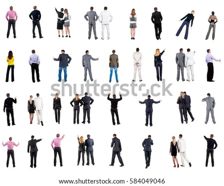 collection Back view of business people . Rear view people collection. backside view of person. Isolated over white background. people in formal clothes do all sorts of things