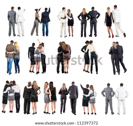 "collection "" Back view of  business team "". young couple rear view. Rear view people set.   backside view of person.  Isolated over white background. - stock photo"