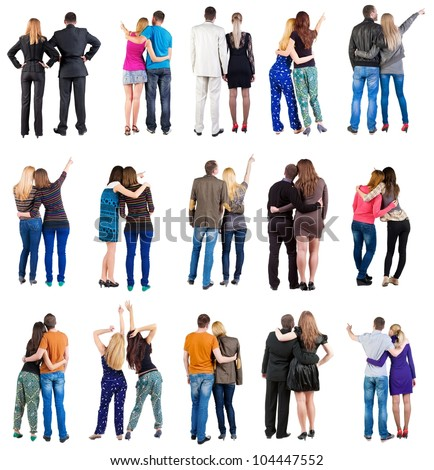 "collection  "" Back view of  couple "". team set. Rear view people collection. backside view of person. Isolated over white background - stock photo"