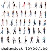 "collection "" back view of running people "". walking people in motion set.  backside view of person.  Rear view people collection. Isolated over white background. - stock photo"
