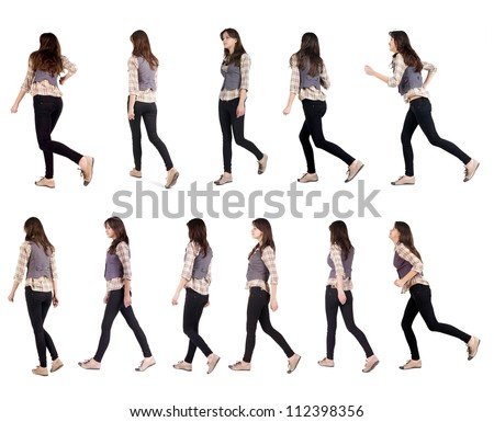 "Collection "" back view of running woman "". walking girl in motion. Rear view people set.  backside view of person. Isolated over white background. - stock photo"