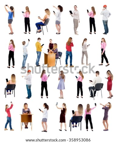 "Collection "" Back view people use smartphones and tablets. "".  Rear view people set.  backside view of person.  Isolated over white background - stock photo"
