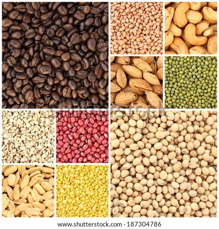 collection beans and seeds background - stock photo