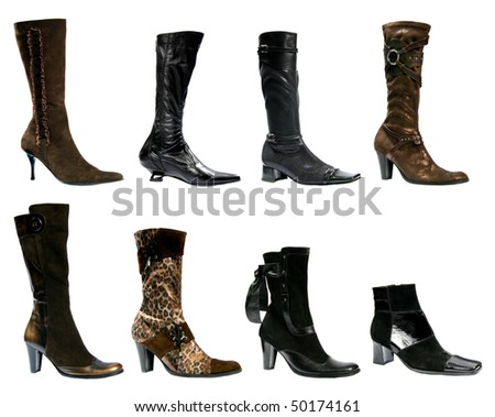 Collection beautiful feminine footwear on white background, is insulated